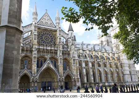 LONDON, AUGUST 1, 2010: London, the exterior of Westminster Abbey - stock photo