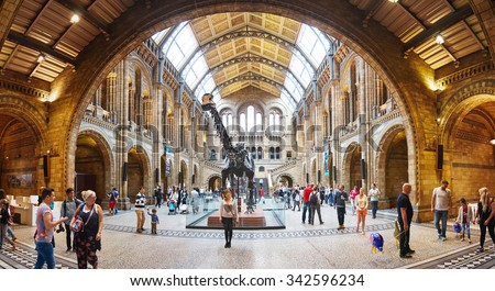 LONDON - AUGUST 16, 2015. People visit Natural History Museum in London, UK.