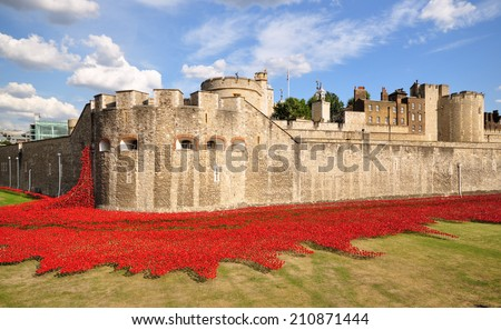 LONDON - AUGUST 7. Some of the 888,246 ceramic poppies on August 7, 2014 commemorate the First World War British and colonial military fatalities, located at the Tower of London, UK. - stock photo