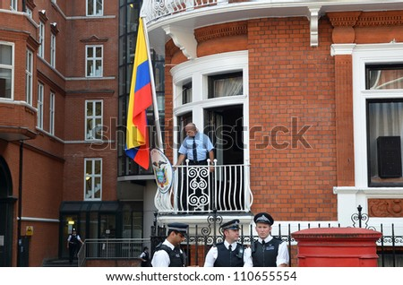 LONDON - AUGUST 19: The Balcony At The At the Julian Assange Protest Outside The Ecuadorian Embassy London August 19th, 2012 in London, England. - stock photo