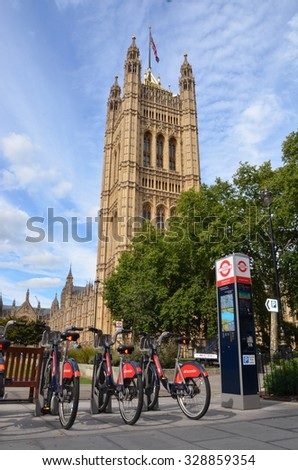 "LONDON - AUGUST 6: The bicycles at this rental station near London's Parliament, shown on August 6, 2015, are nicknamed ""Boris bikes"" after London Mayor Boris Johnson."