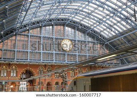 LONDON - AUGUST 4. The restored 1868 south-east facade of St Pancras International railway station and hotel, the redeveloped terminus for Eurostar services to Europe; August 4, 2013, in London, UK.