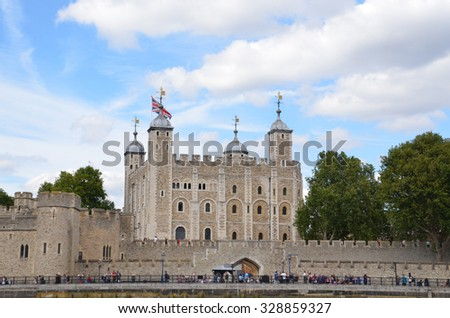 LONDON - AUGUST 6: The Tower of London, shown from the river Thames on August 6, 2015, houses the British Crown Jewels.