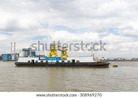 LONDON - August 15 :  The Woolwich Car Ferry John Burnes on the River Thames, London, England UK.  August 15th 2015