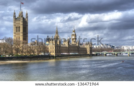 London. Beautiful view of government Houses of Parliament and big ben with Thames river