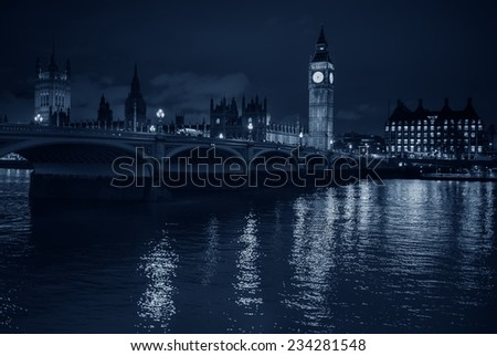 London. Beautiful view of Westminster Bridge and Houses of Parliament with Thames river. - stock photo