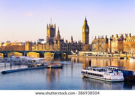 London - Big ben and houses of parliament, UK. - stock photo