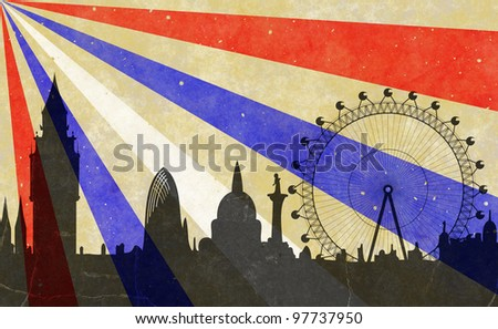 London - Big Ben and towers of Westminster - in grunge style - stock photo