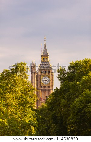 London, big ben clock at the westminster city - stock photo