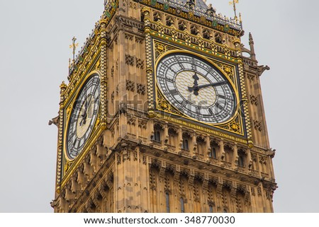 London Big ben tower on a very bad weather cloudy day - stock photo