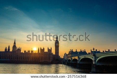 London bigben at night, UK, United Kingdom - stock photo