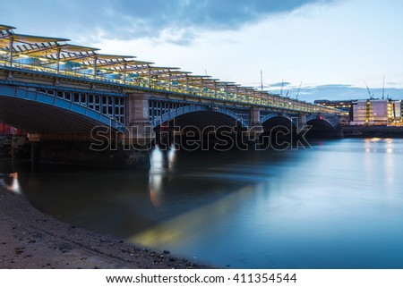 London Blackfriars national rail bridge, station to have platforms that span the river Thames. - stock photo