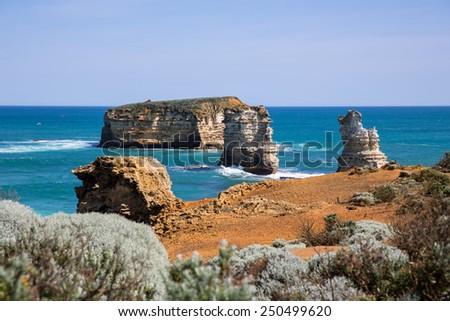 London Bridge rock on the Great Ocean Road in Australia. - stock photo