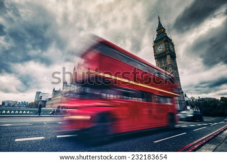 London bus abstract HDR effect - stock photo
