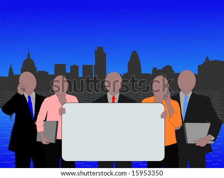 London business team with blank sign and skyline JPG - stock photo