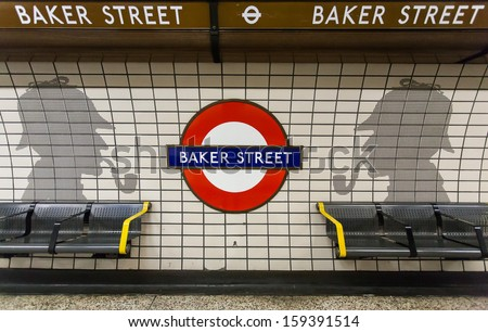 London - CIRCA SEPTEMBER 2013: Baker Street tube station is a station on the London Underground. Baker Street station was opened by the MR on 10 January 1863. - stock photo