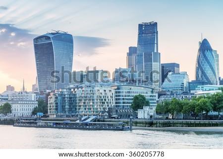 London. City buildings along river Thames. - stock photo