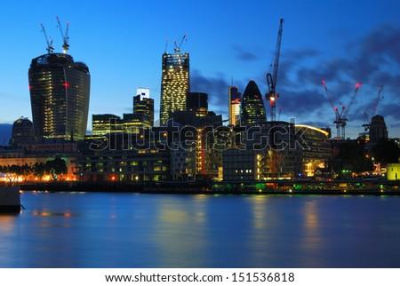 London city center new skyscrapers under construction - stock photo