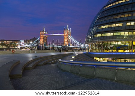 London City Hall and Tower Bridge - stock photo