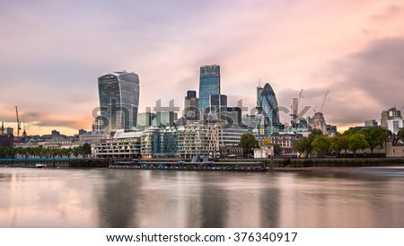 London City Skyline and River Thames in the Morning, London, United Kingdom