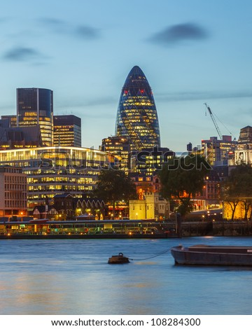 London City skyline at night - stock photo