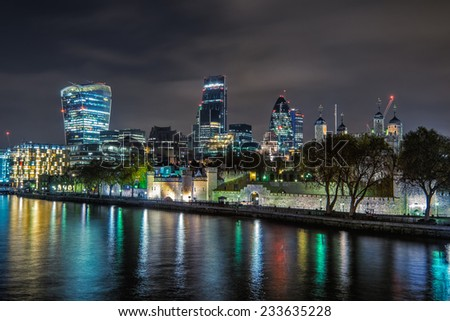 London city skyline from the River Thames - stock photo