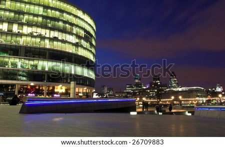 London City skyline. Night shot. - stock photo