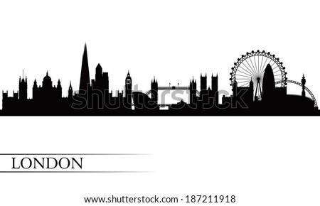 London city skyline silhouette background,  - stock photo