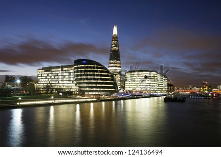London Cityscape, including City Hall, seen from Tower Bridge - stock photo