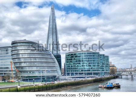 London Cityscape, including City Hall, seen from Tower Bridge, LONDON, England, UK