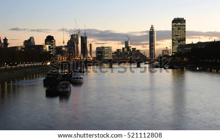 London Cityscape, including Vauxhall Bridge and St George Wharf Tower, seen from Westminster Bridge.