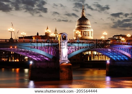 London cityscape sunset - stock photo