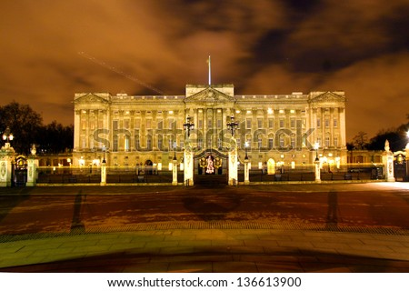 LONDON - DEC 20: Buckingham Palace's principal facade, constructed by Edward Blore and completed in 1850, on December 20, 2005 in London, UK. Palace became the principal royal residence in 1837 - stock photo