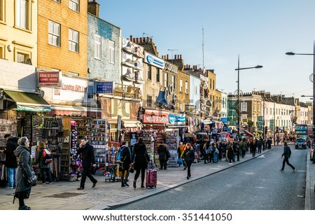 LONDON - DEC 9 : Busy Street at Camden Lock in London on Dec 9, 2015. Unidentified people. - stock photo
