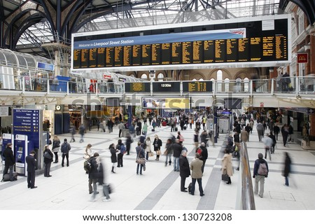 LONDON - DEC 2 : Inside view of Liverpool Street, since 1874, third busiest railway terminus after Waterloo, Victoria, served 53 million passenger between 2010 - 2011 on Dec 2, 2011 in London, UK. - stock photo