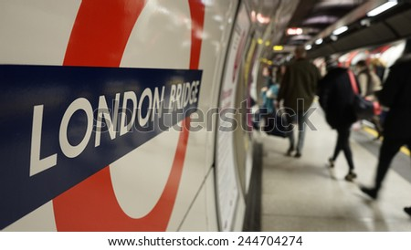 LONDON - DEC 07: Inside view of London Underground, oldest underground railway in the world, covering 402 km of tracks, on Dec 7, 2014 in London, UK.   - stock photo