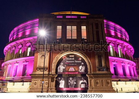 LONDON - DEC 14 : Night view of Royal Albert Hall pictured on December 14th, 2014 in London. It hosts the BBC Proms, annual events, summer season daily classical music concerts. - stock photo
