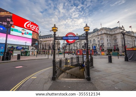 LONDON - DEC 25: Underground Entrance at the totally empty Piccadilly Circus on Christmas morning. Quiet streets and square on Dec 25 early morning, 2015 in London, UK. - stock photo
