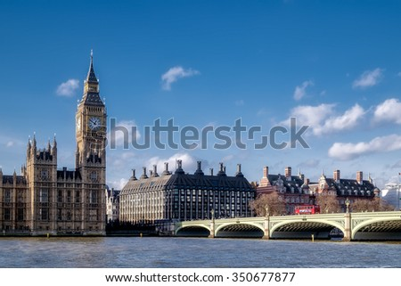 LONDON - DEC 9 : View of Big Ben and the Houses of Parliament in London on Dec 9, 2015. Unidentified people.