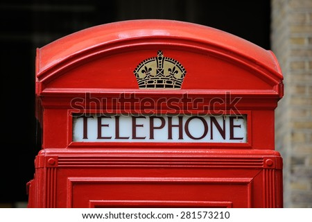 LONDON 2013 - Details of old phone booth - stock photo