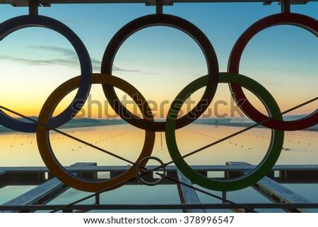 london dorney uk 19 feb 2016 part of olympic rings at start of