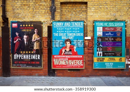London, England - April 16, 2015: Billboard posters on a brick wall advertising musicals and plays in the West End of London. In 2013, ticket sales for London theatres were in excess of 500m