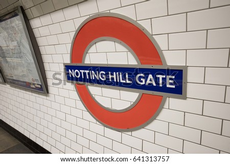 LONDON, ENGLAND - APRIL 29: Detail of London Nottinh Hill Gate Tube sign on the wall on April 29,2017