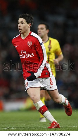 LONDON, ENGLAND. 31/03/2010. Arsenal player Samir Nasri in action during the  UEFA Champions League quarter-final between Arsenal and Barcelona at the Emirates Stadium - stock photo
