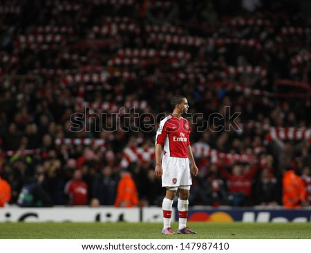 LONDON, ENGLAND. 31/03/2010. Arsenal player Theo Walcott in action during the  UEFA Champions League quarter-final between Arsenal and Barcelona at the Emirates Stadium - stock photo