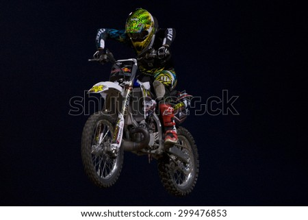 LONDON, ENGLAND. Aug 21 2009: Battersea London; Jeremy Stenberg (USA) during the official training session for the Red Bull X Fighters International Freestyle Motocross