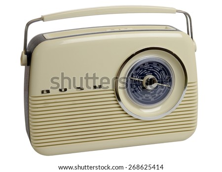 London, England - August 11, 2009: Bush Classic Style Radio or Wireless from the 50's which was originally made from Bakelite, Bush started to make Radios in 1932. Isolated on white background