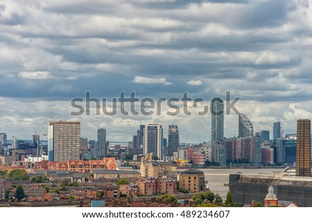 LONDON, ENGLAND - AUGUST 21, 2016: Greenwich Park and National Maritime Museum, Gardens, University of Greenwich, Old Royal Naval College, River Thames, Canary Wharf. London Cityscape