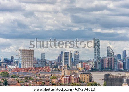 LONDON, ENGLAND - AUGUST 21, 2016: Greenwich Park and River Thames, Canary Wharf. London Cityscape