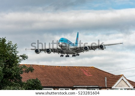 LONDON, ENGLAND - AUGUST 22, 2016: HL7619 Korean Air Airbus A380 Landing in Heathrow Airport, London.